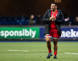 Mako Vunipola of Saracens applauds the fans<br /> <br /> Photographer Simon King/Replay Images<br /> <br /> European Rugby Champions Cup Round 4 - Cardiff Blues v Saracens - Saturday 15th December 2018 - Cardiff Arms Park - Cardiff<br /> <br /> World Copyright © Replay Images . All rights reserved. info@replayimages.co.uk - http://replayimages.co.uk