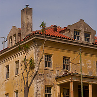 Abandoned military quarters are crumbling away at Fort McDowell in Angel Island State Park  on San Francisco Bay, California.