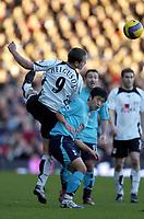 Photo: Olly Greenwood.<br />Fulham v Tottenham Hotspur. The Barclays Premiership. 20/01/2007. Tottenham's Heidar Helguson and Fulham's Yee Young-Pyo