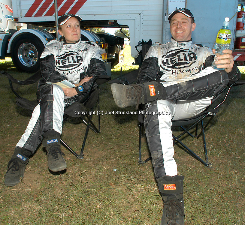 Simon Evans & Sue Evans - Portrait.2003 Falken Rally of Queensland.Imbul State Forest, QLD.13th-15th of June 2003 .(C) Joel Strickland Photographics