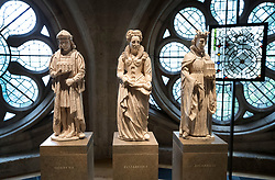 © Licensed to London News Pictures. 29/05/2018. London, UK. Models of monarchs : (L-R) Henry VII, Elizabeth I and Richard II by artist Richard Crawley are displayed in the new Queen's Diamond Jubilee Galleries at Westminster Abbey. The recently finished galleries situated in 13th century triforium, 52 feet above the abbey floor, will display treasures not seen by the public before and tell the story of abbey's thousand-year history. Photo credit: Peter Macdiarmid/LNP