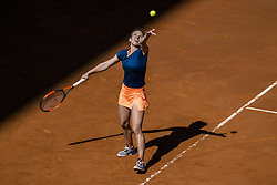 May 9, 2017 - Madrid, Madrid, Spain - SIMONA HALEP (ROU) serves the ball to Roberta Vinci (ITA) in round 2 of the 'Mutua Madrid Open' 2017. Halep won 6:3, 2:6, 7:6 (Credit Image: © Matthias Oesterle via ZUMA Wire)