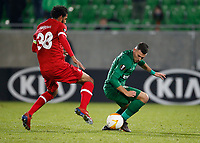RAZGRAD, BULGARIA - OCTOBER 22: Faris Haroun takes the opposite player during the UEFA Europa League Group J stage match between PFC Ludogorets Razgrad and Royal Antwerp at Ludogorets Arena on October 22, 2020 in Razgrad, Bulgaria. (Photo by Nikola Krstic/MB Media)