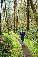 Hiking the Wilson River Trail near Tillamook, Oregon.
