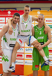 Ziga Dimec, Klemen Prepelic and Jure Besedic during Open day of Slovenian U20 National basketball team before the European Chmpionship in Slovenia, on July 9, 2012 in Domzale, Slovenia.  (Photo by Vid Ponikvar / Sportida.com)