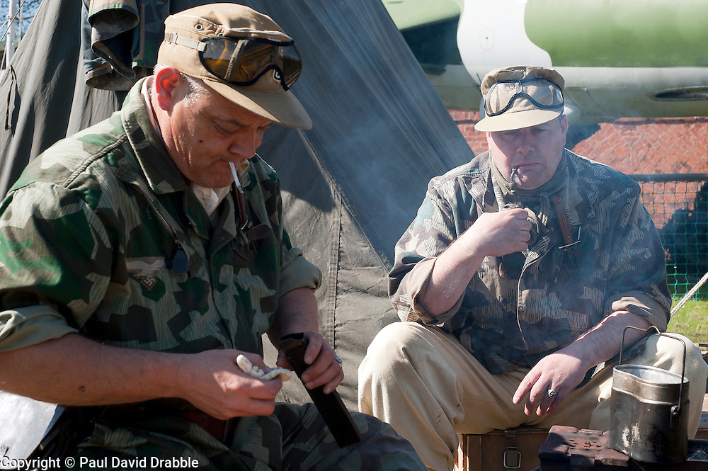 Reenactors from Northern World War Two Association, portraying members of the 1st Fallschirmjaeger Division 'The Green Devils' at Fort Paull<br /> 1 May 2011<br /> Image © Paul David Drabble