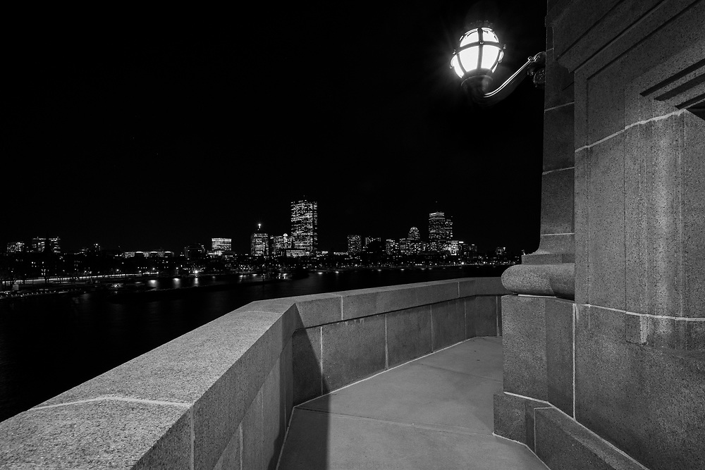 The Back Bay skyline seen from the Longfellow Bridge at night.