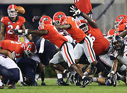 September 16, 2017 - Athens, GA, USA - Georgia defensive back J.R. Reed and the defense block a Samford field goal attempt during the second quarter on Saturday, Sept. 16, 2017, at Sanford Stadium in Athens, Ga. (Credit Image: © Curtis Compton/TNS via ZUMA Wire)