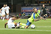 Derby County's Johnny Russell is fouled inside the box and a penalty is awarded to Derby during the Pre-Season Friendly match between Port Vale and Derby County at Vale Park, Burslem, England on 18 July 2017. Photo by John Potts.