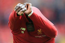 19th August 2017 - Premier League - Liverpool v Crystal Palace - Sadio Mane of Liverpool removes his training top - Photo: Simon Stacpoole / Offside.