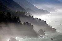 Fog highlights the cliffs along the Big Sur Coast, California.