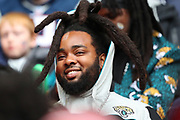 a Jaguars fan during the NFL game between Houston Texans and Jacksonville Jaguars at Wembley Stadium in London, United Kingdom. 03 November 2019