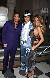 Left to right, PETER ANDRE, ANDY WONG and JORDANat Andy & Patti Wong's annual Chinese New Year party, this year celebrating the year of the dog held at The Royal Courts of Justice, The Strand, London WC2 on 28th January 2006.<br /><br />NON EXCLUSIVE - WORLD RIGHTS