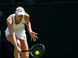 LONDON, July 3, 2018  Naomi Broady of Britain hits a return during the women's singles first round match against Garbine Muguruza of Spain at the Championship Wimbledon 2018 in London, Britain, on July 3, 2018. Naomi Broady lost 0-2. (Credit Image: © Guo Qiuda/Xinhua via ZUMA Wire)