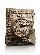 Hittite cuneiform clay tablet. A Property donation deed - Hattusa (Bogazkoy),  1700 BC to 1500BC - Museum of Anatolian Civilisations, Ankara, Turkey. Against a white background