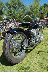 Invited builder Larry Pierce's custom Harley-Davidson Flathead that his wife Ashley finished with friends after his passing on Friday - for the builder-invite bike check-in for the Born-Free 6 Vintage Chopper and Classic Motorcycle Show. Silverado, CA. USA. June 27, 2014.  Photography ©2014 Michael Lichter.