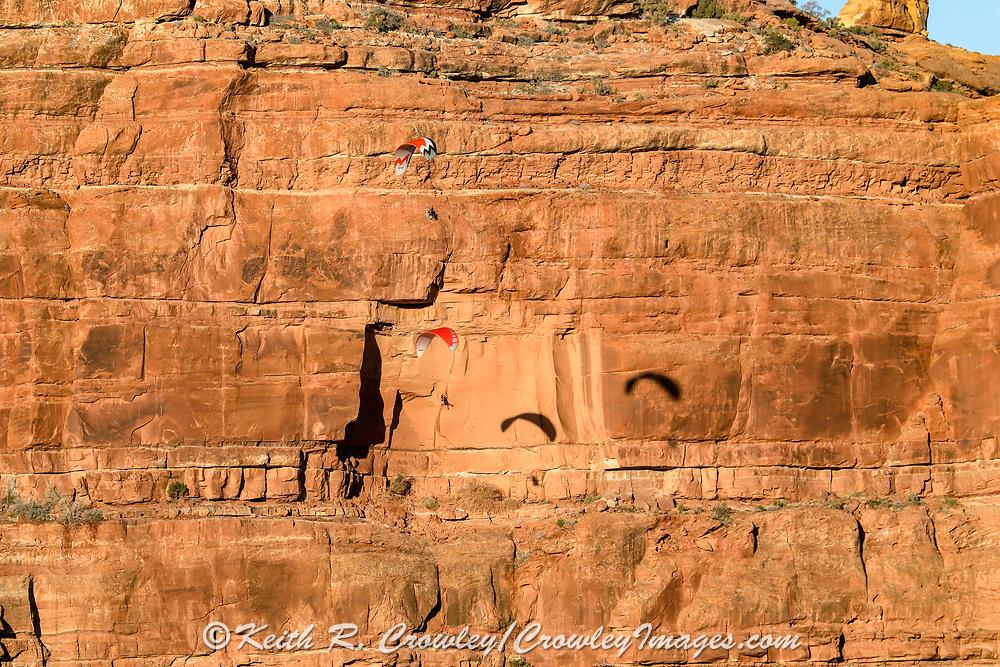 Ultalight aircraft flying near Monument Valley