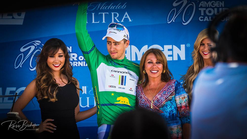 Professional cyclist on the winners podium at the Amgen Tour of California, Santa Barbara, California USA