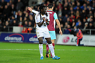 Bafetimbi Gomis of Swansea city shows his frustration. Barclays Premier league match, Swansea city v West Ham Utd at the Liberty Stadium in Swansea, South Wales  on Sunday 20th December 2015.<br /> pic by  Andrew Orchard, Andrew Orchard sports photography.