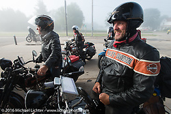 "Robert Gustavsson or ""Big Swede"" as he is fondly known, stopped for gas on his 1931 Harley-Davidson VL during Stage 8 of the Motorcycle Cannonball Cross-Country Endurance Run, which on this day ran from Junction City, KS to Burlington, CO., USA. Saturday, September 13, 2014.  Photography ©2014 Michael Lichter."