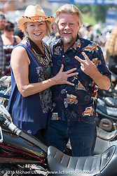 Donna Maupin and Arlin Fatland of Two-Wheelers at the Harley-Davidson Editors Choice Custom Bike Show on Main Street during the annual Sturgis Black Hills Motorcycle Rally.  SD, USA.  August 8, 2016.  Photography ©2016 Michael Lichter.
