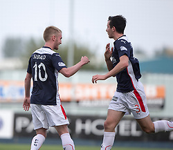 Falkirk's Craig Sibbald and Joe Shaughnessy cele Falkirk's goal.<br /> Falkirk 1 v 1 Queen of the South, Scottish Championship game played today at The Falkirk Stadium.