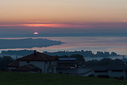 Sunset over Chiemsee lake, Bavaria, Germany