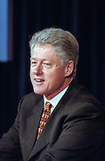 US President Bill Clinton during an event announcing the first federal budget surplus in 29 years at the White House September 30, 1998 in Washington, DC.