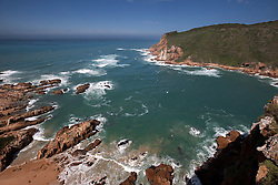 Rock formations on the coast, Knysna Heads, Knysna, Western Cape Province, South Africa