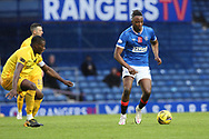 Marvin Bartley (Livingston) closes down Joe Aribo (Rangers) during the Scottish Premiership match between Rangers and Livingston at Ibrox, Glasgow, Scotland on 25 October 2020.