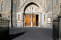 Entrance to St Josephs catholic church in Glasthule Dublin Ireland