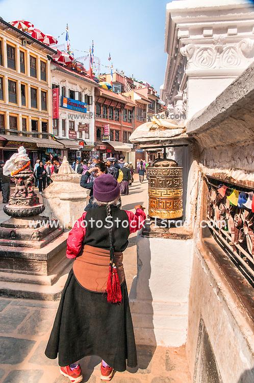 Prayer wheel, Boudhanath stupa in Kathmandu, Nepal