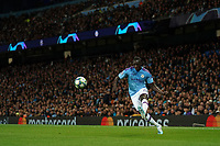 Manchester City's Benjamin Mendy crosses the ball<br /> <br /> Football - 2019 / 2020 UEFA Champions League - Champs Lge Grp C: Man City-D Zagreb<br /> <br /> , at Etihad Stadium<br /> <br /> Colorsport / Terry Donnelly