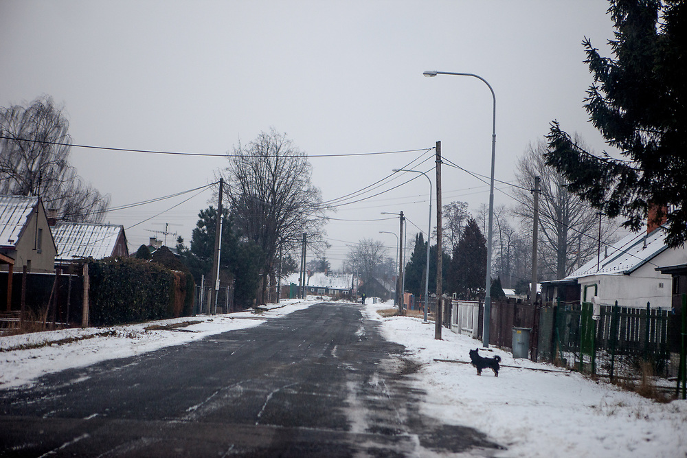 View out of a car in a neighbourhood in the city of Ostrava.