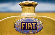 Fiat logo on vintage car, Gloucestershire, United Kingdom