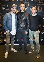 Jason Matthewson, William Moseley, Marco Recalchi  at the Press Conference for the Gold Movie Awards, announcing nominees for the awards to held on 9th January. Regent St Theatre London. 13.12.19