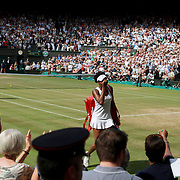 LONDON, ENGLAND - JULY 13:  Venus Williams of the United States leaves Center Court after victory against Johanna Konta of Great Britain in the Ladies Singles Semi Final match during the Wimbledon Lawn Tennis Championships at the All England Lawn Tennis and Croquet Club at Wimbledon on July 13, 2017 in London, England. (Photo by Tim Clayton/Corbis via Getty Images)