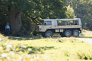 Pinzgauer all-terrain vehicle tour of the Knepp Estate. Sussex, UK.