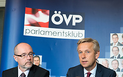 "12.04.2017, Parlament, Wien, AUT, ÖVP, Pressekonferenz mit dem Titel ""EU Beitrittsperspektiven der Westbalkanländer"". im Bild v.l.n.r. Nationalratsabgeordneter ÖVP Christoph Vavrik und ÖVP Klubobmann Reinhold Lopatka // f.l.t.r. Member of Parliament OeVP Christoph Vavrik and Leader of the Parliamentary Group OeVP Reinhold Lopatka during press conferenc of the austrian people' s party in Vienna, Austria on 2017/04/12. EXPA Pictures © 2017, PhotoCredit: EXPA/ Michael Gruber"