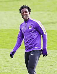 Wilfred Bony of Manchester City during the training session at The Etihad Campus ahead of the UEFA Champions League clash with FC Barcelona - Photo mandatory by-line: Matt McNulty/JMP - Mobile: 07966 386802 - 23/02/2015 - SPORT - Football - Manchester - Etihad Stadium
