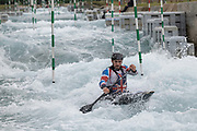 Mens slalom canoeist, Tom Abbott at Lee Valley White Water Centre with Team GBs Canoe Slalom Team on the 7th June 2019 in London in the United Kingdom.