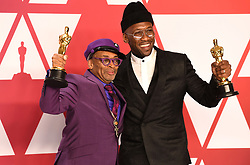 "Spike Lee, winner of the Best Adapted Screenplay Award for ""BlacKkKlansman"" and Mahershala Ali, winner of the Best Actor In A Supporting Role Award for ""Green Book"" at the 91st Annual Academy Awards"