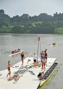 Chungju, South Korea. 2013 FISA World Rowing Championships, NED W8+, boating and General Views of signage round the Tangeum Lake International Regatta Course. 08:55:25  Saturday  24/08/2013 [Mandatory Credit. Peter Spurrier/Intersport Images]