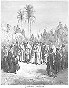 The Meeting of Jacob and Esau Genesis 33:3-4 From the book 'Bible Gallery' Illustrated by Gustave Dore with Memoir of Doré and Descriptive Letter-press by Talbot W. Chambers D.D. Published by Cassell & Company Limited in London and simultaneously by Mame in Tours, France in 1866