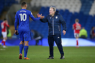 Kenneth Zohore of Cardiff City with Neil Warnock, the Cardiff city manager after the game.  EFL Skybet championship match, Cardiff city v Barnsley at the Cardiff city stadium in Cardiff, South Wales on Tuesday 6th March 2018.<br /> pic by Andrew Orchard, Andrew Orchard sports photography.