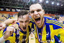 Jaka Malus and Borut Mackovsek celebrate as National Champions 2017 during trophy ceremony after handball match between RK Celje Pivovarna Lasko and RK Gorenje Velenje in Last Round of 1. Liga NLB 2016/17, on June 2, 2017 in Arena Zlatorog, Celje, Slovenia. Photo by Vid Ponikvar / Sportida