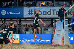 Dries Koekelkoren (1) of Belgium, Tom van Walle (2) of Belgium in action during CEV Continental Cup Final Day 1 - Women on June 23, 2021 in The Hague