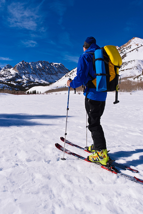 Backcountry skier at North Lake, Inyo National Forest, Sierra Nevada Mountains, California