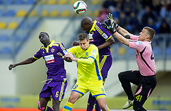 Uros Korun and Nejc Vidmar of Domzale vs Welle Ndiaye and Jean-Philippe Mendy of Maribor during football match between NK Domzale and NK Maribor in 25th Round of Prva liga Telekom Slovenije 2014/15, on March 22, 2015 in Sports park Domzale, Slovenia. Photo by Vid Ponikvar / Sportida