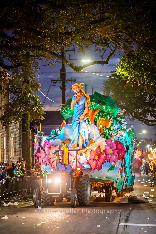 The Krewe of Hermes and the Krewe of d'Etat roll through uptown New Orleans